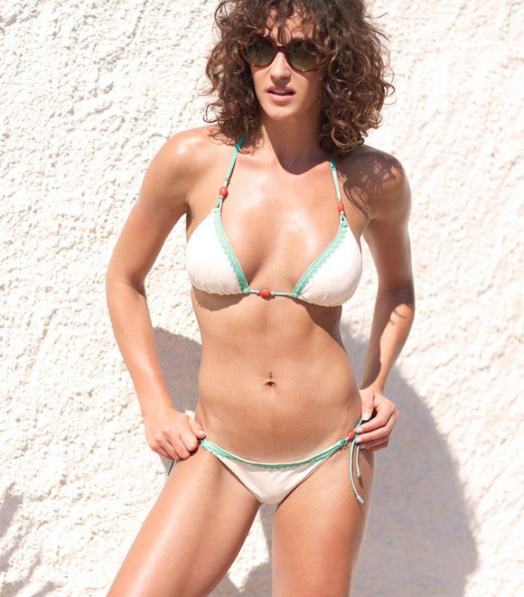 BKM17-A-Blanco/Verde, Bikini triángulo, Bikini antelina blanca, Bikini blanco verde, Bikini Barcelona, Bikini customizado, verano 2017