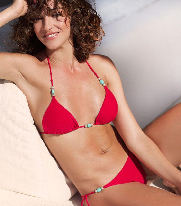 BKM17-V-Rojo, Bikini triángulo, Bikini lycra perchada, Bikini rojo, Bikini abalorios, Bikini Barcelona, Bikini customizado, verano 2017
