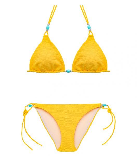 BKM17-C-Amarillo, Bikini triángulo, Bikini calado, Bikini calado amarillo, Bikini Barcelona, Bikini customizado, verano 2017