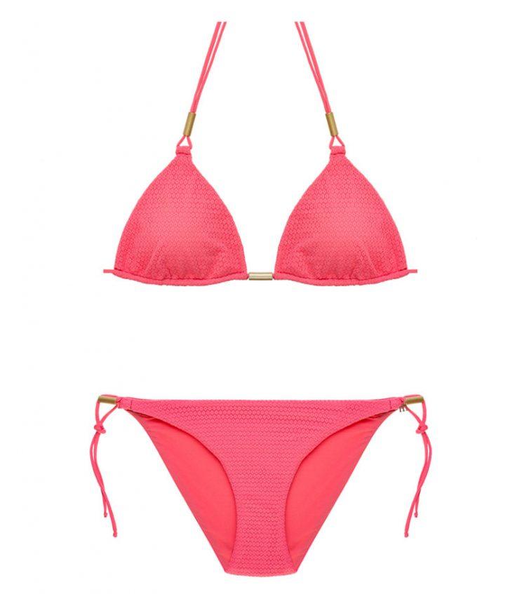 BKM17-C-Salmon, Bikini triángulo, Bikini calado, Bikini calado salmon, Bikini Barcelona, Bikini customizado, verano 2017