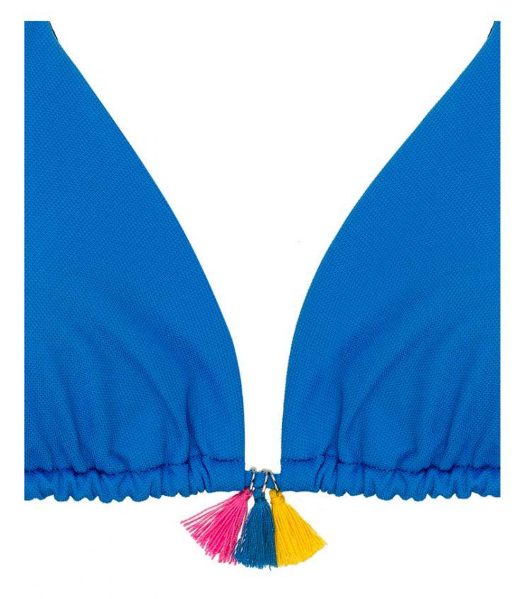 BKM17-P-Azul, Bikini triángulo, Bikini piqué azul, Bikini azul, Bikini abalorios, Bikini Barcelona, Bikini customizado, verano 2017
