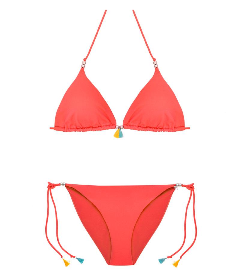 BKM17-P-Alchimia, Bikini triángulo, Bikini piqué Alchimia, Bikini rojo naranja, Bikini abalorios, Bikini Barcelona, Bikini customizado, verano 2017