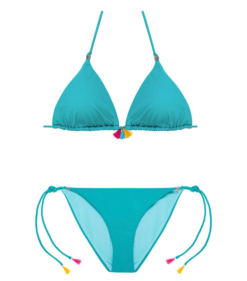 BKM17-P-verde, Bikini triángulo, Bikini piqué verde, Bikini verde, Bikini abalorios, Bikini Barcelona, Bikini customizado, verano 2017
