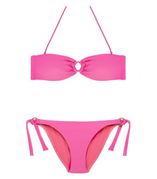 BDM17-P-Rosa Minnie, Bikini Bandeau, Bikini rosa, Bikini bandeau rosa, Bikini Barcelona, Bikini customizado, verano 2017