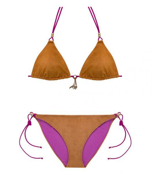 BKM17-A-Marrón, Bikini triángulo, Bikini antelina marrón, Bikini marrón fucsia, Bikini Barcelona, Bikini customizado, verano 2017