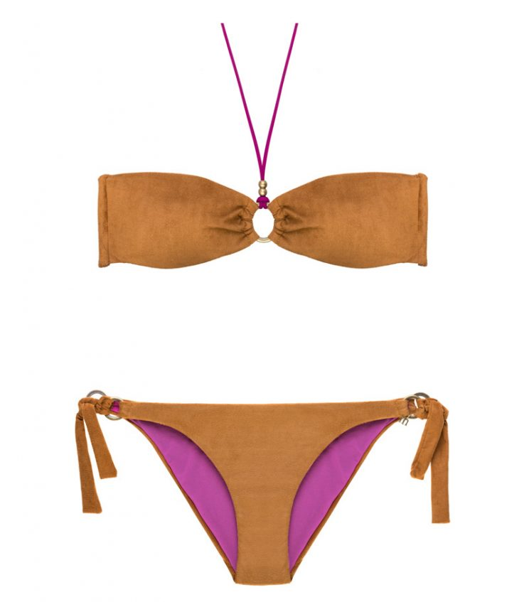 BDM17-A-Marrón, Bikini bandeau, Bikini antelina marrón, Bikini marrón fucsia, Bikini Barcelona, Bikini customizado, verano 2017